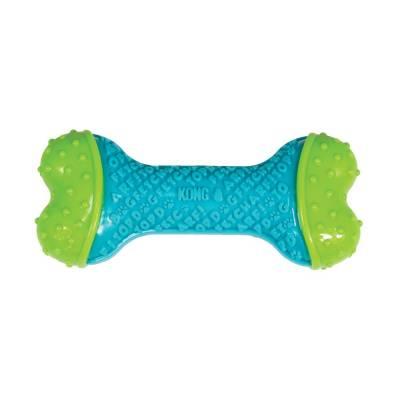 Holland Animal Care | Kong | Zahnreinigung | Kauspielzeug | 14 cm | Grün | Blau | Knochen