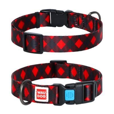 WAUDOG Hundehalsband Nylon Muster Rot kariert versch. Größen