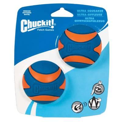 Hunde Spielzeug Ball Chuckit Ultra-Quietsche-Kugel M im 2er-Pack, Durchmesser:6 cm