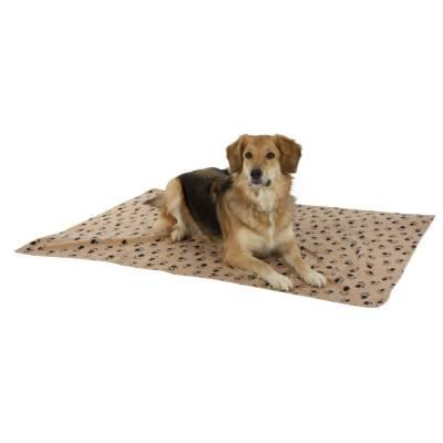Hundedecke Stella 140x100cm beige mit Pfoten