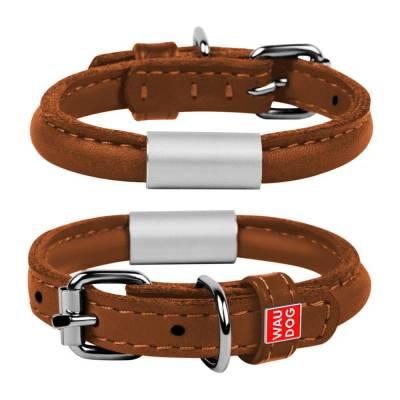 WAUDOG Hundelederhalsband mit Adressenschild SOFT Braun Halsumfang: 33-41 cm