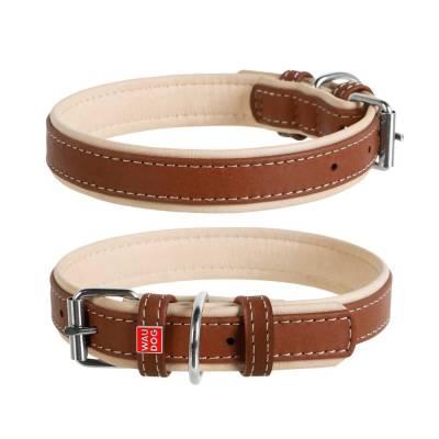 WAUDOG Hundehalsband SOFT Handarbeit mit Leder Braun M Halsumfang: 38-490 mm