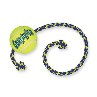Hunde Spielzeug Ball Kong Air Squeaker Tennisball M mit Tau, Länge:520 mm,durchmesser:6,35 cm,