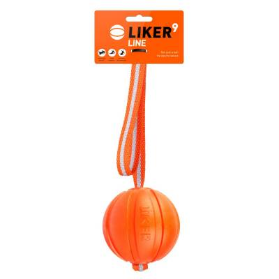 Hundeball Orange 5 cm Wurfball mit 35 cm Band