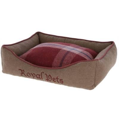 Kuschelbett Braun Rot 50x40x15cm - Hundebett Royal Pets