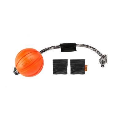 Hundeball Orange 7 cm Wurfball mit 30 cm Cordel