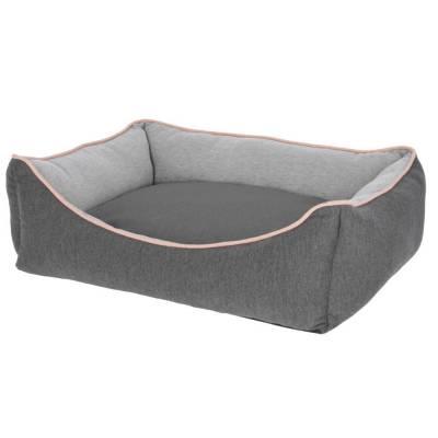 Kuschelbett Grau Lachs 75x60x25cm - Hundebett Kodiak
